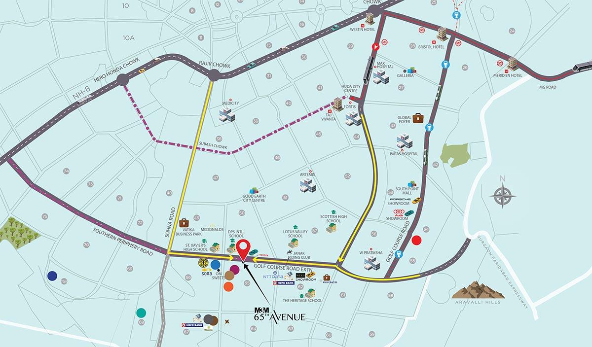 M3M 65th Avenue Location Map